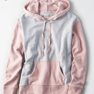 AERIE Pink and gray hoodie